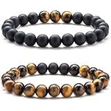Hamoery Men Women 8mm Tiger Eye Natural Stone Beads Bracelet Elastic Yoga Agate Bracelet Bangle