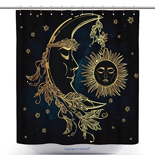 [Decorative Shower Curtains Hand Drawn Crescent Moon With Feathers And In The Crown Of Leaves And Sticks Sleeping Sun Next To 317212241 Polyester Bathroom Shower Curtain Set With Hooks] (Make Moon Knight Costume)