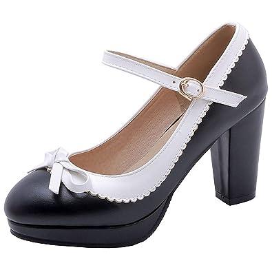 0387433b954 Vitalo Womens Vintage Rockabilly Shoes Mary Jane Chunky High Heels Platform  Pumps with Bowtie Size 3