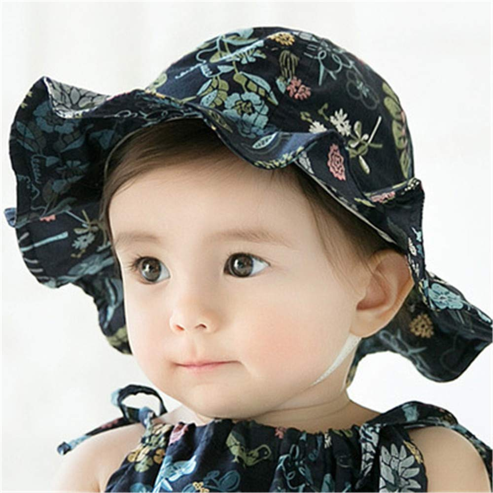 Summer Outdoor Baby Large Wide Brim Sun Caps Kids Printing Floral Beach Bucket Cap Hat Protection Toddler Hats