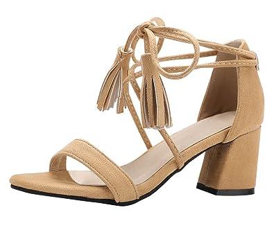 YE Damen Chunky Heels Offene Sandalen mit Knöchelriemchen Denim Elegant Bequem Schuhe 1ctmL0oSZL