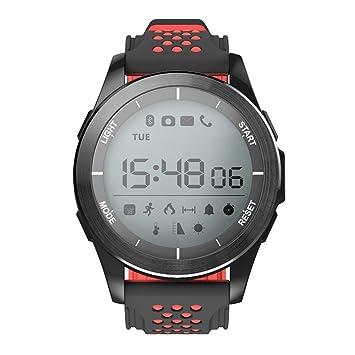 OOLIFENG Relojes inteligentes Bluetooth Impermeable Reloj Rastreador de ejercicios Podómetro Barómetro de altímetro para viajar y acampar , Red: Amazon.es: ...