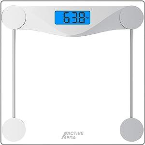 Pèse-Personne Balance électronique - Design Ultra Fin avec Capteurs Haute Précision et Verre Trempé (kg/lbs/stone)