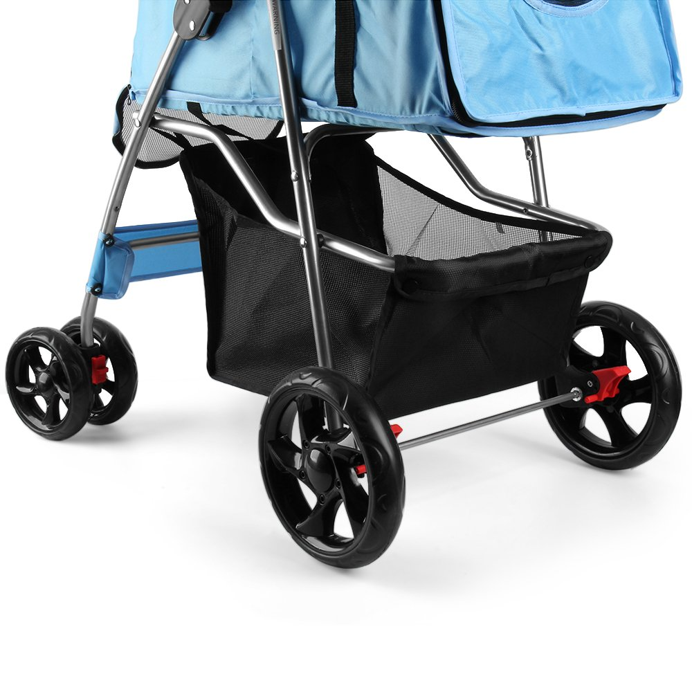Flexzion Pet Stroller Dog Cat Small Animals Carrier Cage 4 Wheels Folding Flexible Easy Walk for Jogger Jogging Travel Up to 30 Pounds With Rain Cover Cup Holder and Mesh Window, Blue by Flexzion (Image #6)