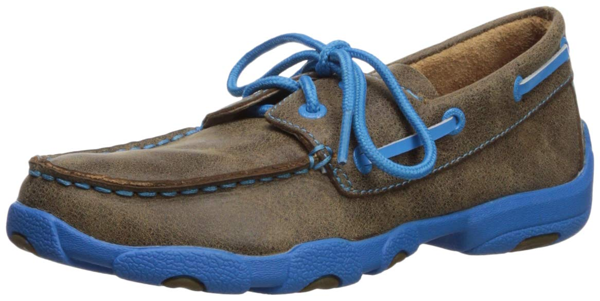 Twisted X Kids' Driving Moccasin, Bomber/Neon Blue - 6 D(M) US