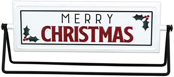Amazon Com Merry Christmas Happy New Year Metal Rotating Tabletop Holiday Sign Christmas Decorations Home Kitchen