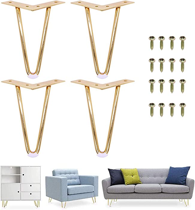 "7""Inch Gold Hairpin Legs- Leg Protectors(4) + Screws(16) [Set of 4] - Furniture Legs Sofa Cabinet Furniture Leg Feet Coffee Tea bar Stool Chair Leg Feet - Mid Century Modern by Homeland Hardware"