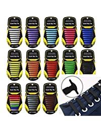 Alisena 16pcs Flexible Elastic Shoelace Wash-free Silicone No Knotting Shoe Laces for Men Women Multicolor