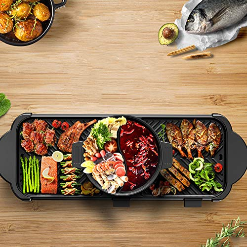 JINPENGRAN Home Smokeless Barbecue Electric Oven, Barbecue Electric Hot Pot One Pot, Large Electric Baking Pan, Can Be Grilled, Fried, Boiled, Braised,Large Capacity by JINPENGRAN (Image #3)