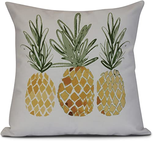 Ebydesign 3 Pineapples Geometric Print Outdoor Pillow, 16 x 16 , Gold
