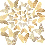 36PCS 3D Butterfly Stickers, Golden Butterfly Wall Stickers Art Wall Decal Butterfly Window Sticker for Home Office Baby Kids Nursery Bedroom Bathroom Fridge Wedding Party Decoration