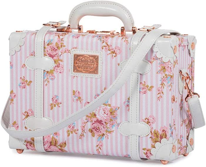 COTRUNKAGE Small 13 Women Pu Leather Vintage Cosmetic Case Cute Floral Decorative Box 13 , Pink Floral