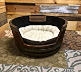 Wine Barrel Dog Bed, Medium Personalized Pet Bed with Soft Bedding