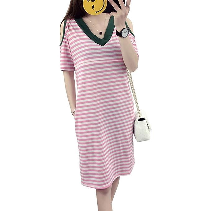 c10b0a72f ZEVONDA Embarazo Vestido Lactancia Mujer - Moda Clásico Cuello en V Raya  Premamá Blusa Maternidad Camiseta