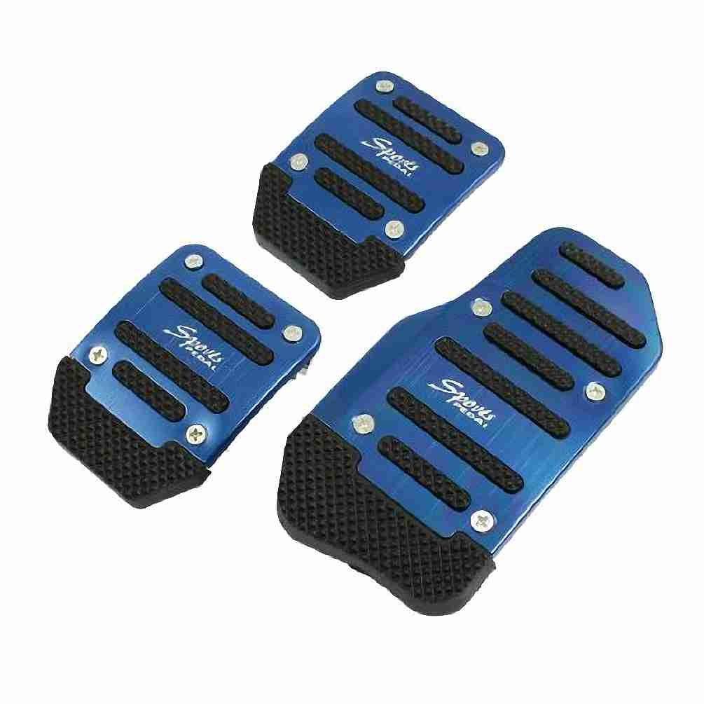Move&Moving(TM) 3 Pcs Black Blue Plastic Metal Nonslip Pedal Cover Set for Car