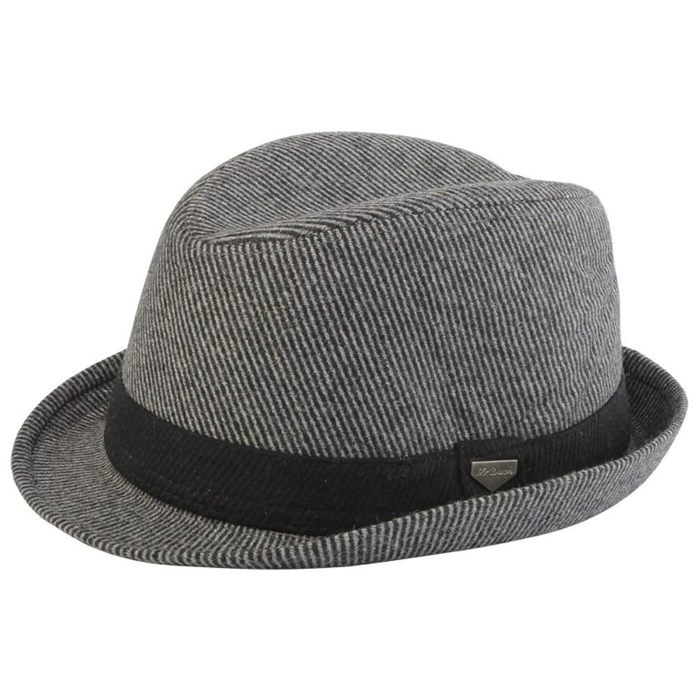 SHENTIANWEI Autumn And Winter New Fedora Hat Wool Hat Men's Panama Hat Distaff Strong Hat (Color : Gray, Size : 56-59cm)