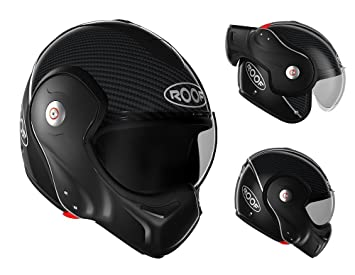 Roof - RO9 - Casco de moto integral Boxxer Carbon en color negro mate