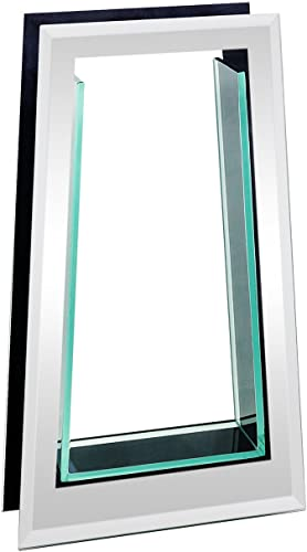 Royal Imports Flower Glass Vase Decorative Centerpiece for Home or Wedding Tall Tapered Mirror Trim Plate Glass, 8 W, 2 Opening 13.5 Tall