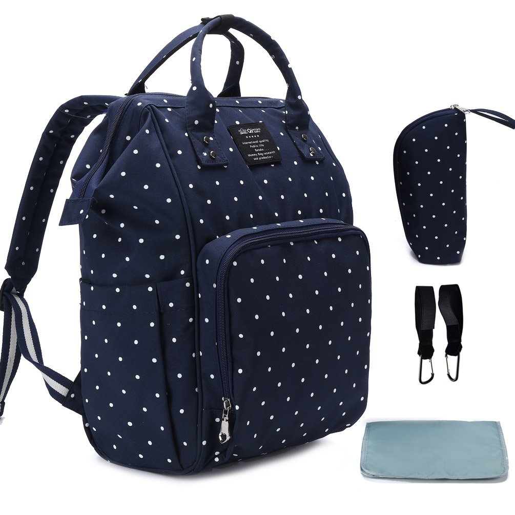 Hiday Diaper Backpack Set-Diaper bag+Changing Pad+Insulated Bottle Pocket+Stroller Straps, Perfect for Mom and Dad, Girls and Boys