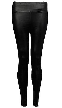 461d63a5c5b ZET Women Ladies Plus Size High Waisted PVC Leather Wet Look Shiny Leggings  Pants UK 8
