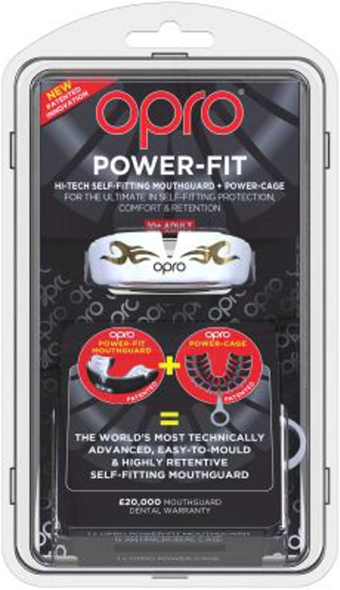 Opro Power Fit Bling Urban Mouth Guard White//Gold