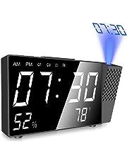 Réveil projecteur numérique Projection Horloge Alarme 4 in 1 FM Radio Réveil Digital avec Alarme Dual,Mesure de la Température,Alarme de Projection de FM,Écran LED 6.3 Pouces et PDF notice français