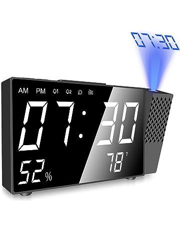 Despertador Proyector, Digital Proyección Relojes de Alarma, Radio Despertador Digital con Alarmas Dual,