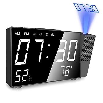 Despertador Proyector, Digital Proyección Relojes de Alarma, Radio Despertador Digital con Alarmas Dual, Medición de la Temperatura, Alarma de ...