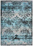 Studio Collection Vintage French Damask Design Contemporary Modern Area Rug Rugs 3 Different Color Options (Damask Silver Grey / Aqua Blue, 8 x 10)