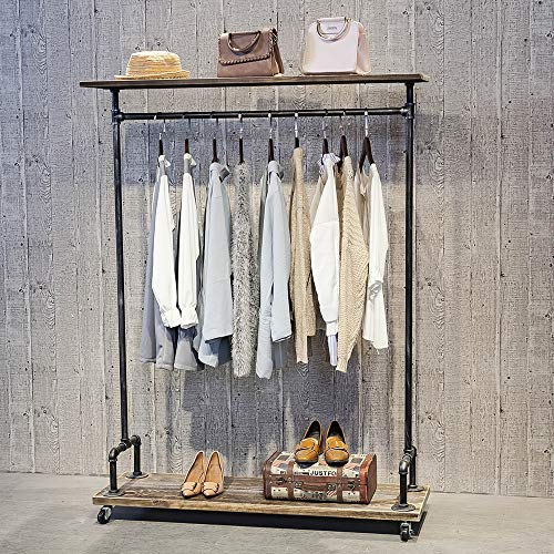 Industrial Pipe Clothing Rack on Wheels,Vintage Rolling Rack for Hanging Clothes,Retail Display Clothing Racks with Shelves,Wooden Garment Rack with Wheels,Heavy Duty Clothes Rack Cloths Coat Rack