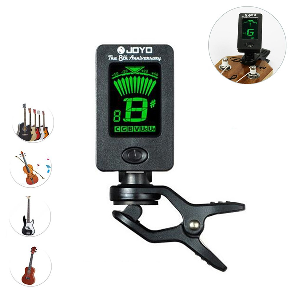 Yakamoz LCD Clip on Tuner for Acoustic Electric Guitar Bass Violin Ukulele, 360 degree Rotational Electronic Digital Tuner