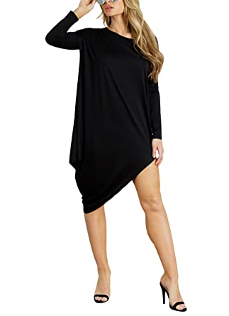 10aa6194f67b Aleng Women's Loose Stretchy T Shirt Dress Round Neck Solid Color Long  Sleeve Asymmetrical Hem Black