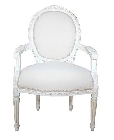 Casa Padrino Barock Salon Stuhl Antik Stil Creme Weiss Gold