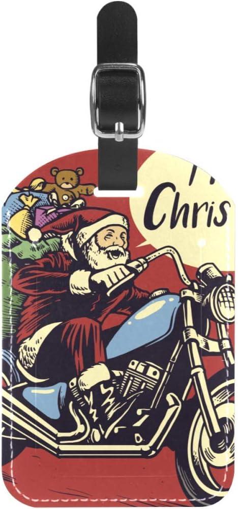 Etiquetas de Equipaje de Papá Noel para equitación con Motor, Regalos de Piel para Maleta de Viaje, 1 Paquete