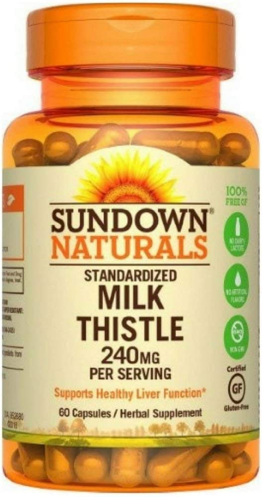 Sundown Naturals Milk Thistle 240mg, 60 Capsules ea Pack of 12