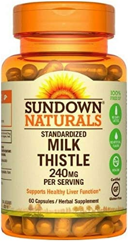 Sundown Naturals Milk Thistle 240mg, 60 Capsules ea Pack of 7