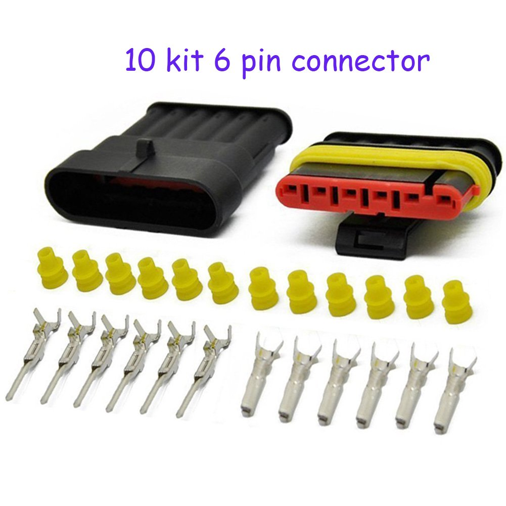 HIFROM 10 Kit 6 Pin Way Waterproof Electrical Connector 1.5mm Series Terminals Heat Shrink Quick Locking Wire Harness Sockets 20-16 AWG by HIFROM