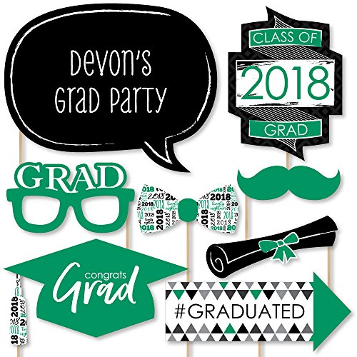 Green Dots Photo - Green Grad - Best is Yet to Come - Green 2018 Graduation Party Photo Booth Props Kit - 20 Count