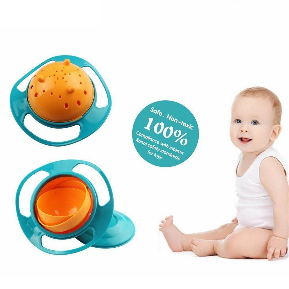 Berry President Magic Bowl 360 Degree Rotation Spill Resistant Gyro Bowl with Lid For Toddler Baby Kids Children, Set Of 3, Orange+Blue+Green by Berry President (Image #4)