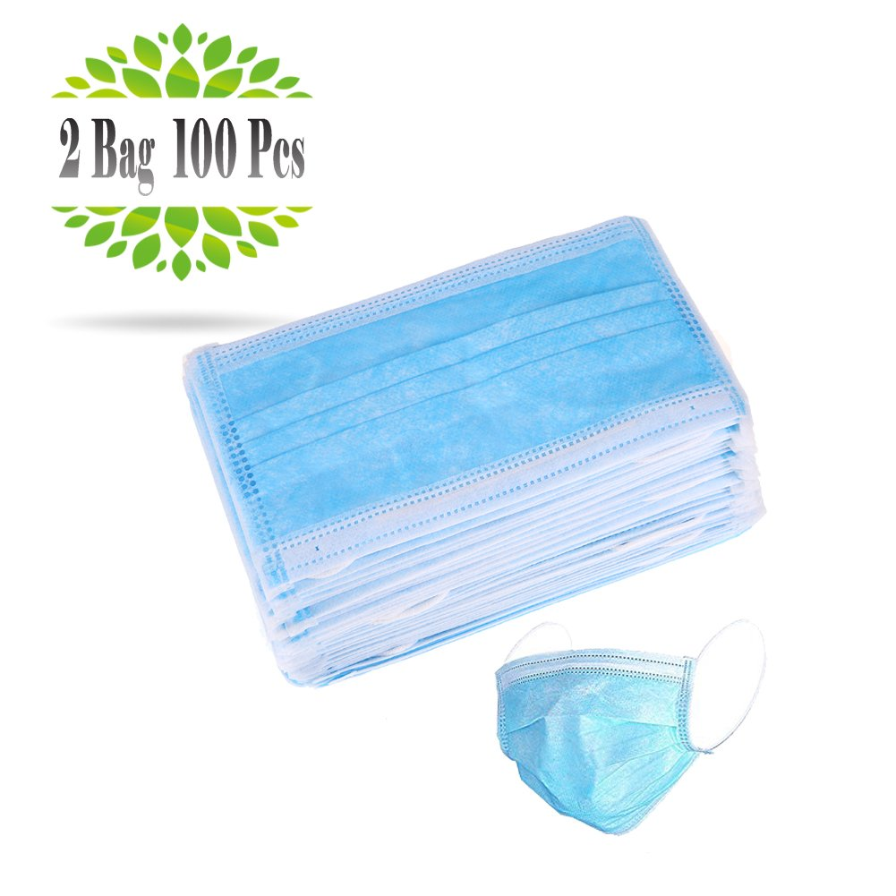 UCOSHIER 100Pcs Disposable Earloop Face Mask 3-Ply Non-woven Mouth Cover Filter Dust Medical Surgical Face Masks,Blue(2 bag,50pcs/bag)