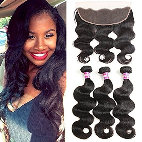 Beilusi Hair Brazilian Body Wave Hair 3 Bundles with Lace Frontal (13×4) Ear to Ear Frontal With Bundles 8A Brazilian Body Wave Frontal Closure Natural Color (16 16 16+14 Frontal)