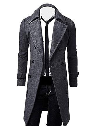 a7022b2134798 Manteau Long Homme Trench-Coat Veste d hiver College Jacket Double Parka  Revers Mâle Manches Longues Slim Fit Vintage Business Manteau Outwear   Amazon.fr  ...