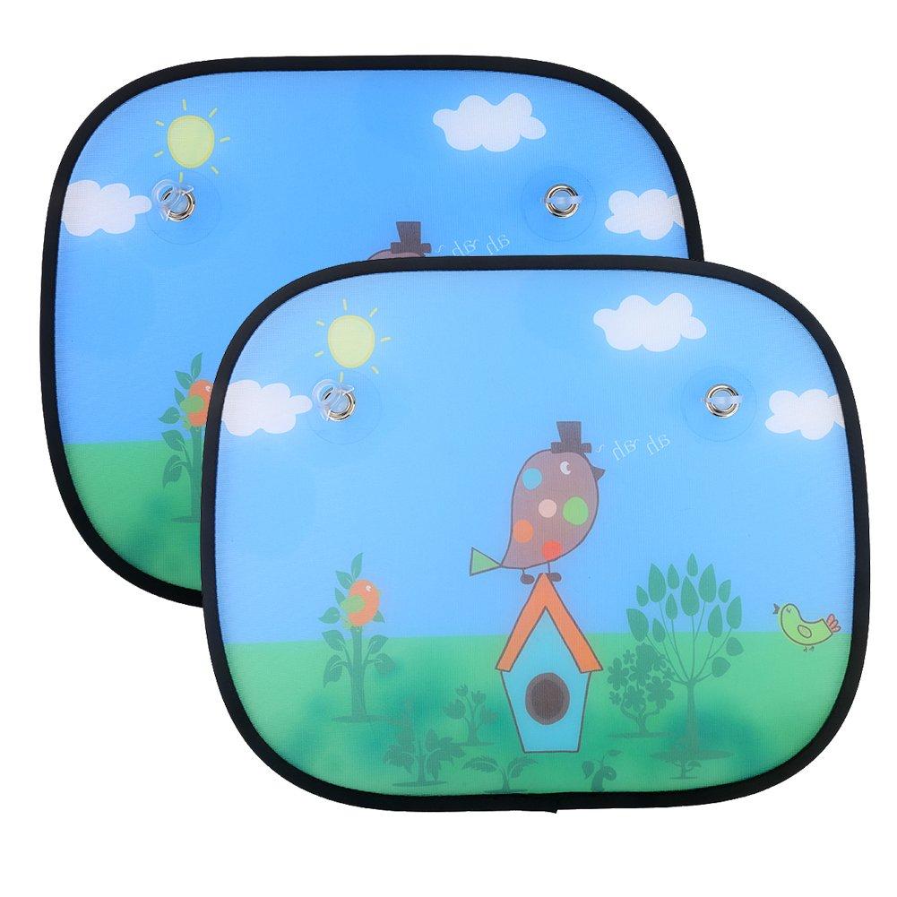 IntiPal 2 Pcs Baby Car Sun Shades - Car Window Sunshades To Block Damaging UV Rays Bright Sunlight Heat For Kids Children Pets