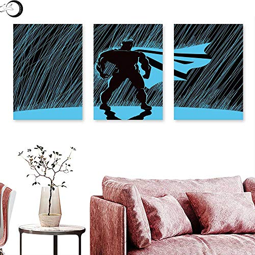 J Chief Sky Superhero Abstract Painting Hero in Rain at Night Dramatic Super Defender Macho Pride Neon Male Illustration Triptych Art Set Blue Black Triptych Art Canvas W 16