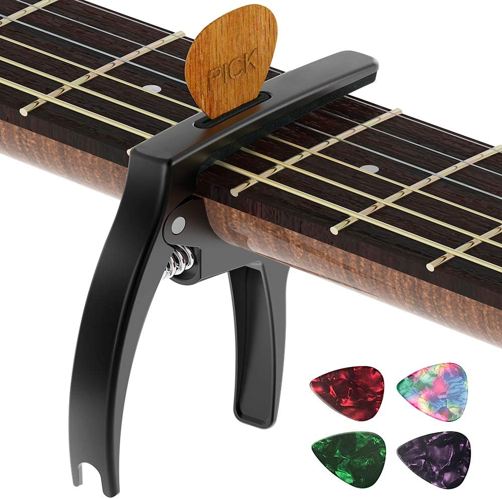 Guitar Capo,TANMUS 3in1 Zinc Metal Capo for Acoustic and Electric Guitars (with Pick Holder and 4Picks),Ukulele,Mandolin,Banjo,Classical Guitar Accessories