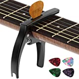 Guitar Capo,TANMUS 3in1 Zinc Metal Capo for Acoustic and Electric Guitars (with Pick Holder and 4Picks),Ukulele,Mandolin,Banj