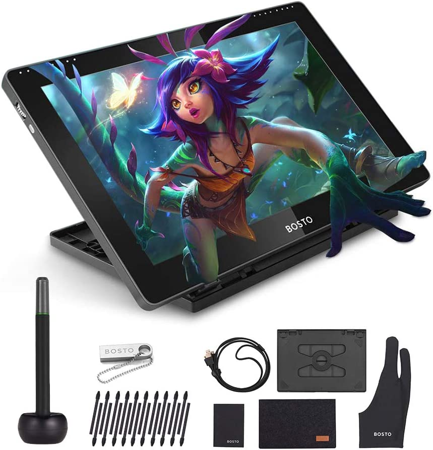BT-16HDK Portable 15.6 Inch H-IPS LCD Graphics Drawing Tablet Display 8192 Pressure Level Passive Technology Low Consumption Drawing Tablet with Interactive Stylus Pen Drawing Tablet