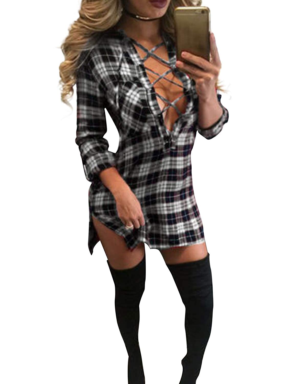 63cdeeca61 Auxo Women Lace Up Shirt Bandage Dress Plaid Checkered Deep V Neck Long  Sleeve Bodycon Dress at Amazon Women s Clothing store