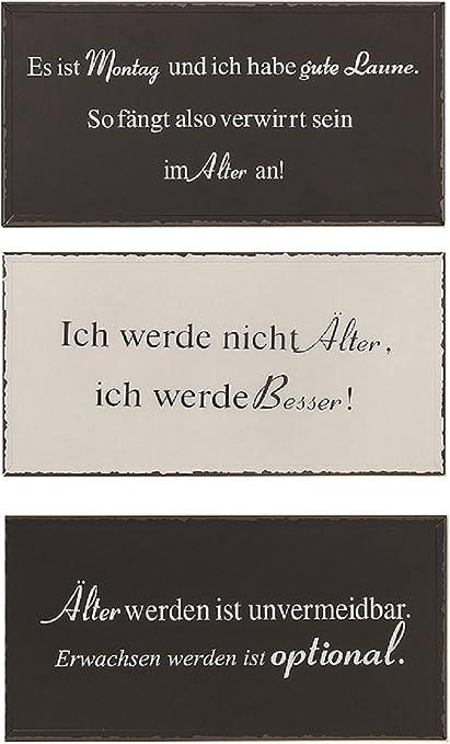 Amazon De 3er Set Metall Wandbilder 40 X 20 Schilder Lustige Spruche Alter