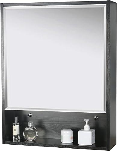 eclife 22 x 28 Large Storage Bathroom Medicine Cabinet Origin Mirror Storage Wood Adjustable Wall Mounted Mirror Cabinet Black C01